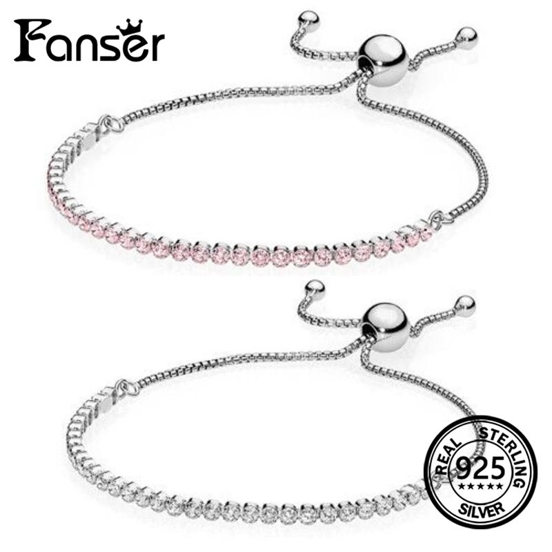 FANSER Bracelet Hand Chain Brand New PANDOR 100% Sterling Silver Women Bangle Two color with Bead Jewelry DIY Fashion Popular