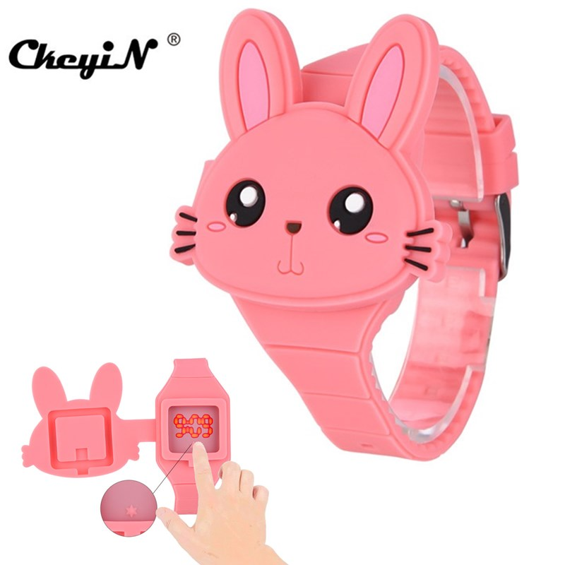 3D Cartoon Children's Watches Boys Girls Cute Design Red Bear Baby Kids Watch LED Digital Electric Flip Silicone WristWatch PJ