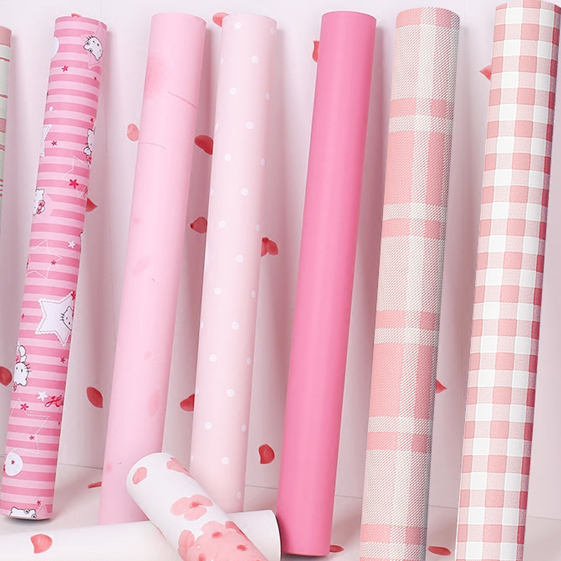 Pink Plaid Dormitory Desk Wall Stickers Solid Color Wallpaper For Kids Room Princess Room Girls Bedroom Self adhesive Wall Paper