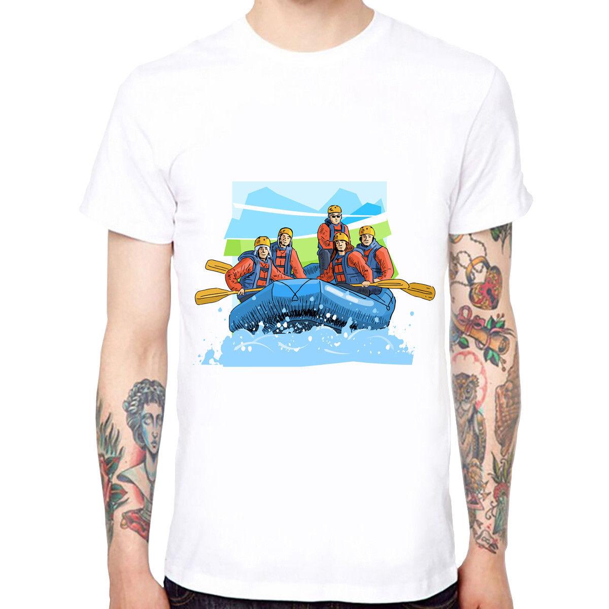 Water Rafting Mens Cotton Soft Funny Cool T-shirts Short Sleeve Tops Tee Tee Shirt Mens 2018 New Tee Shirts Sleeve Tops