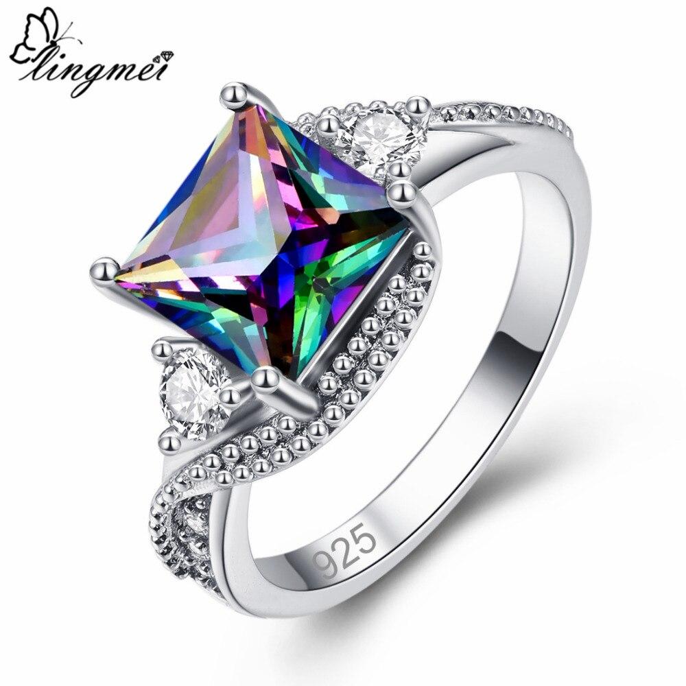 Lingmei 2018 nova moda lindo misterioso arco-íris branco azul zircão cúbico prata cor anel tamanho 6-10 11 12 13 casamento nupcial