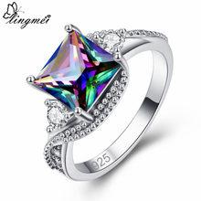 Lingmei nova moda lindo misterioso arco-íris branco azul zircão cúbico prata cor anel tamanho 6-10 11 12 13 presente de casamento nupcial