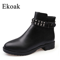 DIANERKANG Size 34 43 New 2016 Fashion Women Boots Autumn Winter Boots Classic Zip Rivets Ankle