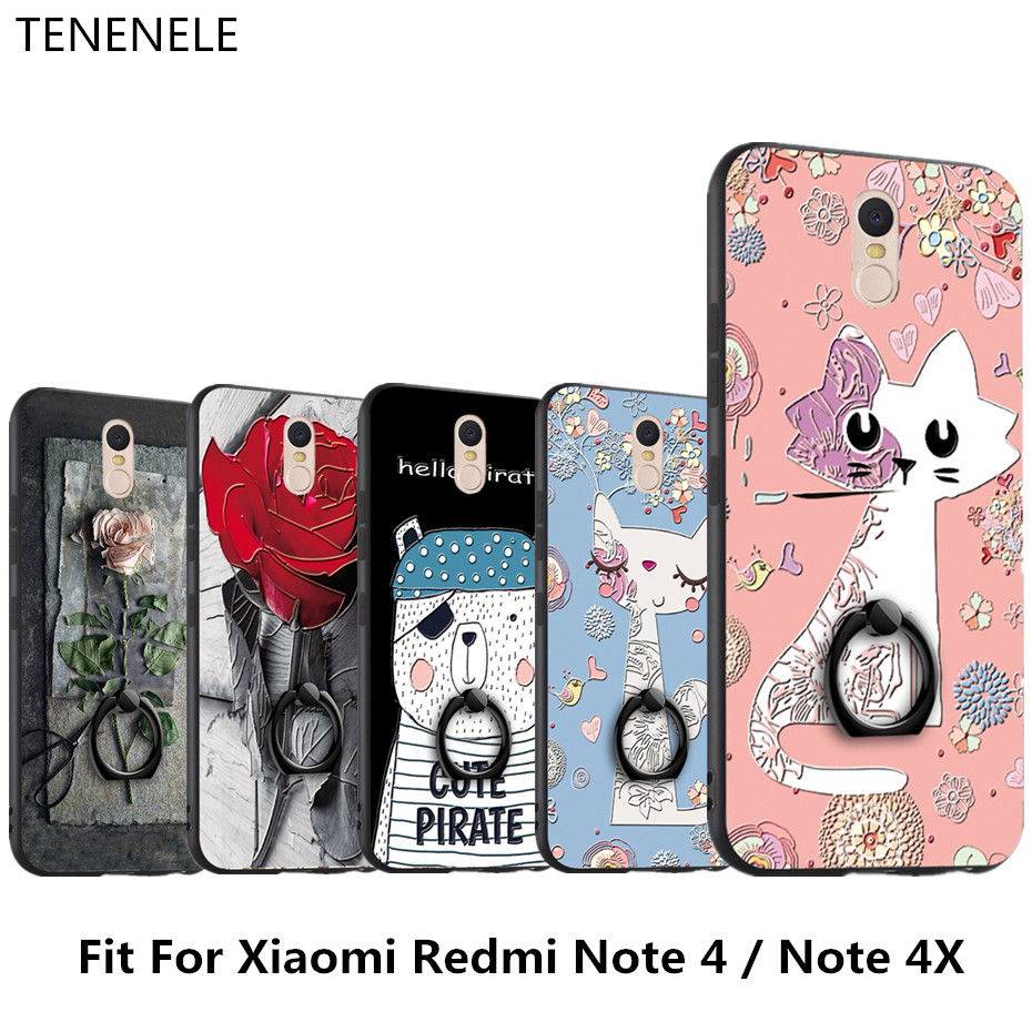 Tenenele случае 5.5 ''для Xiaomi Redmi Note 4/4X силикона мультфильм 3D Крышка рельеф Чехол с палец кольцо coque принципиально Капа
