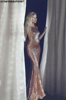 Shiny Gold Sequin Pregnancy Evening Dresses Sexy Open Back Maternity Formal Party Gowns Sparkly