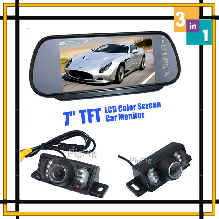 ФОТО 3 In 1 Hd 7 Lcd Car Mirror Monitor DVD/Video Screen For Rear View Camera and front Camera Infared Light Backup Reverse camera