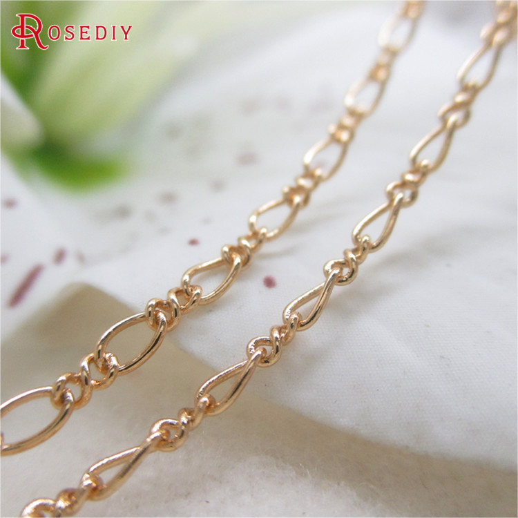 2 Meters Width 2.1MM 24K Champagne Gold Color Copper Figaro Chains Necklace Chains High Quality Diy Jewelry Findings Accessories