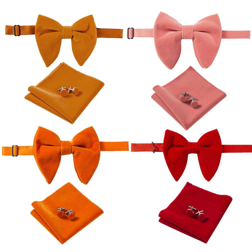 Ricnais Nova Chegada de Veludo Grande Lenço Abotoaduras Gravata borboleta Bowties Para O Homem Sólido Conjunto Vermelho Amarelo Pescoço Laços dos homens para o Casamento