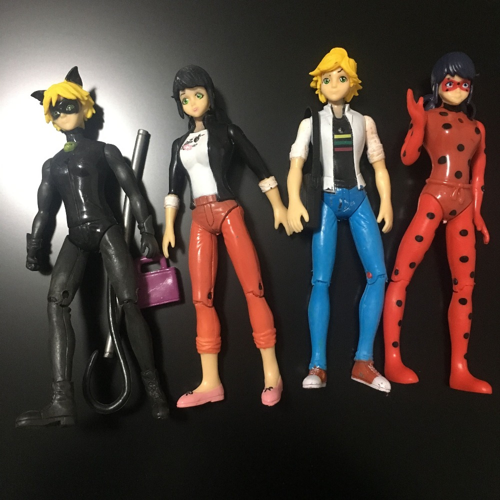 4pcs/lot Miraculous Ladybug Comic Lady bug Doll Action Figure Toys Cute Anime Adrien Marinette Plagg Tikki PVC Figure new hot sale miraculous ladybug and cat noir juguetes toy doll lady bug adrien marinette plagg tikki plush doll