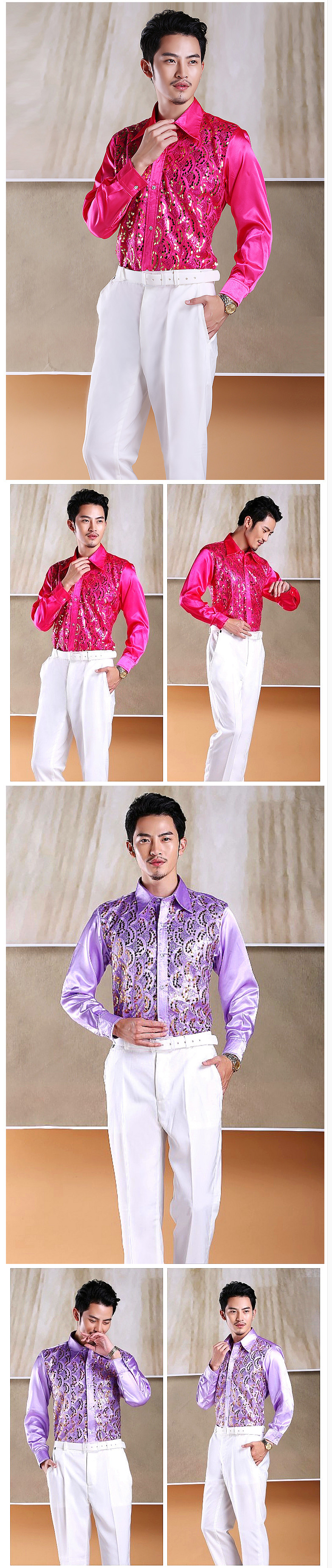 2016 new Men s glittering sequined shirt shirt stage performance ... fc9bf2a98a75