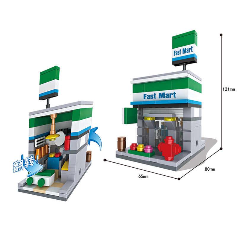 Stadt Mini Straße Spielzeug Shop Einzelhandel Shop 3D Modell KFCE McDonald Cafe Apple Miniatur Gebäude Block für kid kompatibel mit