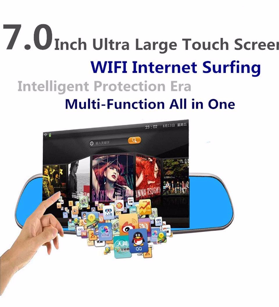 Car DVR mirrow Android GPS Navigation 7.0 IPS Touch WIFI AVI Reversing Rearview dash cam video recorder Dual lens Built in 8GB