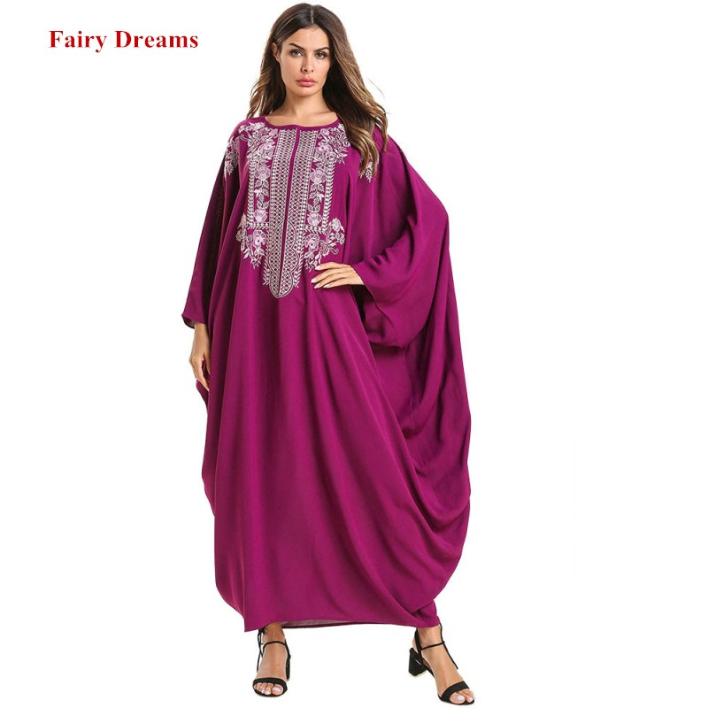 Women Abaya Kimono Turkey Dubai Loose Muslim Dress Kaftan Turkish Islamic Clothing Embroidery Bangladesh Ukraine Robe 2019