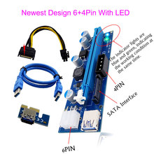 50pcs 6+4Pin+LED PCI E Express 1X to 16X Video Card Mining Riser Card USB3.0 Extender Cable with Power Supply For Bitcoin Miner