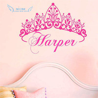 New 2016 Baby Girl Crown Wall Decal Princess Name Nursery Vinyl Wall Sticker Wall Art For