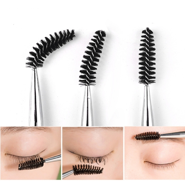 1pc Bend Eyelashes Brush Beauty Makeup Tool Makeup Brushes Transparent Diamond Handle Eyebrow Lash Comb Makeup Brushes