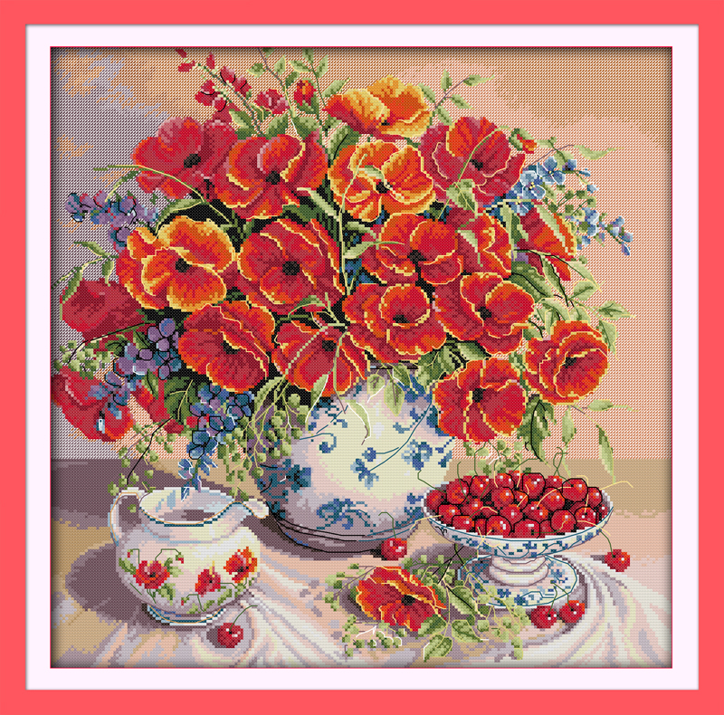 Everlasting love Christmas Poppy and cherry Chinese cross stitch kits Ecological cotton stamped 11 CT New store sales promotion