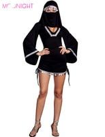 Bruxa preto Halloween trajes Sexy freira roupas mascarado boate menina cosplay