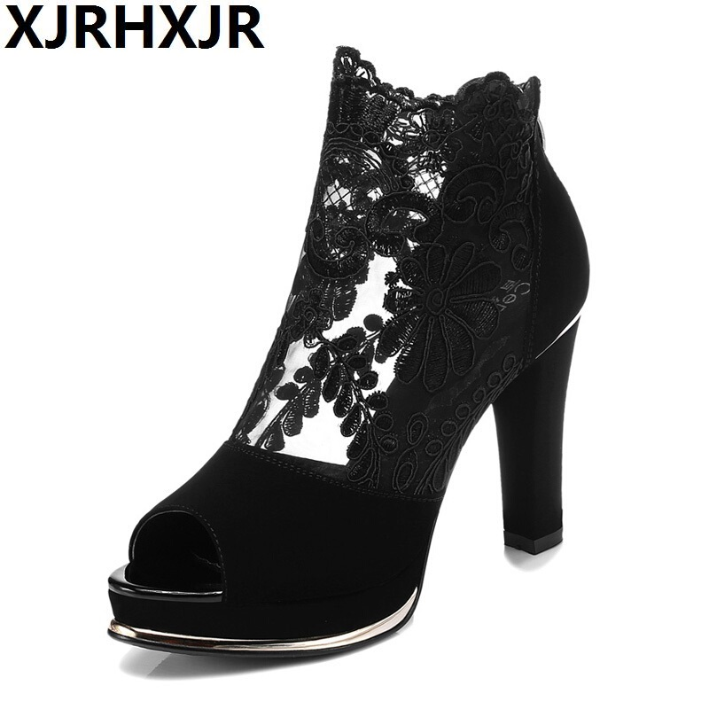 XJRHXJR Summer Open Toe Sandals Cutout Lace Female Boots High Thick Heel Cool Boots Size 34-40 8CM Heel Network Shoes 2017 new female high heeled sandals in summer with thick slope toe platform waterproof word buckle flower cool boots