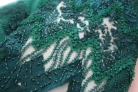 Luxury beaded french lace fabric flowers 3d african wedding lace fabric high quality teal green red tulle net lace fabrics