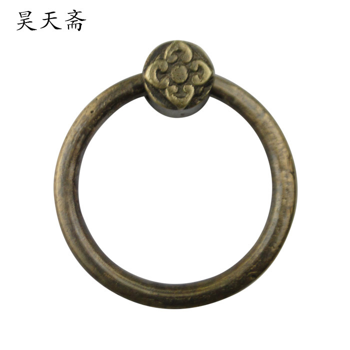 [Haotian vegetarian] Chinese antique copper door handle ring handle HTA-106 petals down payment[Haotian vegetarian] Chinese antique copper door handle ring handle HTA-106 petals down payment