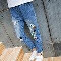 2016 осень новые большие девственные девушки джинсы джинсовые брюки детская одежда Микки Маус и Дональд Дак детские девушки брюки
