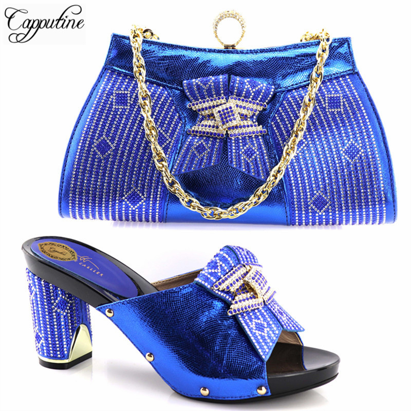 Capputine Fashion African Rhinestone Shoes With Matching Bags For Party Italian Style Woman Shoes And Bags Set Free Shipping 2016 spring and summer free shipping red new fashion design shoes african women print rt 3
