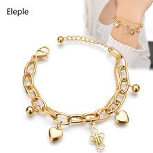 Eleple Gold Color Stainless Steel Hollow Cross Heart Multilayer Bracelet for Women Fashion Wedding Gift Jewelry Wholesale S-B51