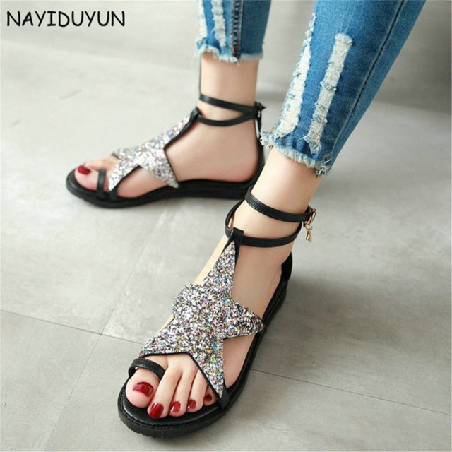 16e34e40fc2f9 NAYIDUYUN Women Ankle Cross Strappy Roman Gladiator Thong Sandals Low Heel  Bling Bling Big Star Summer Oxfords Casual Shoes
