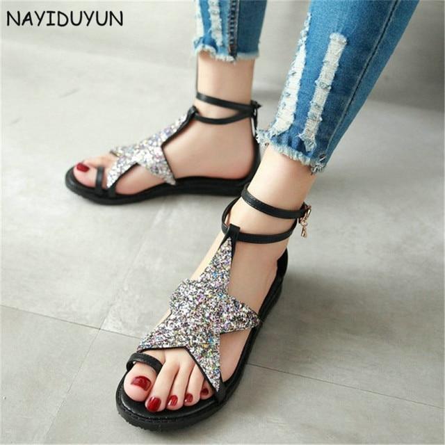 6fffe7116ba9b0 NAYIDUYUN Women Ankle Cross Strappy Roman Gladiator Thong Sandals Low Heel  Bling Bling Big Star Summer