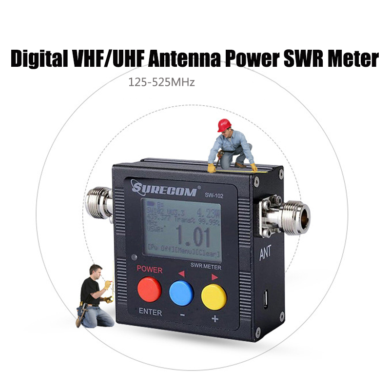 SW-102 Digital VHF/UHF Antenna Power Meter LCD SWR Standing Wave Ratio Watt Meter 125-525Mhz for 2 Way Radios US Energy Monitor standing wave table intercom test the antenna standing wave power sw 102 interphone standing wave table
