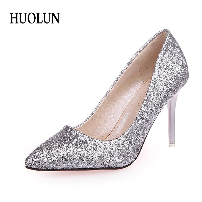 ec5f59df462 HUOLUN High Heels Stiletto Women Pumps Shoes Sexy Glisten Women Shoes  Wedding Party Dress Heels Women Hollow Shallow Mouth
