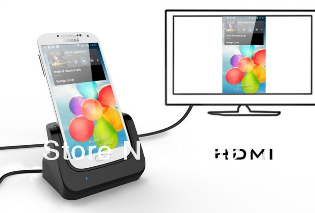 Free shipping New Sync Data Usb Cradle Docking Station Desktop Charger With HDMI Out for Samsung Galaxy S4 SIV i9500