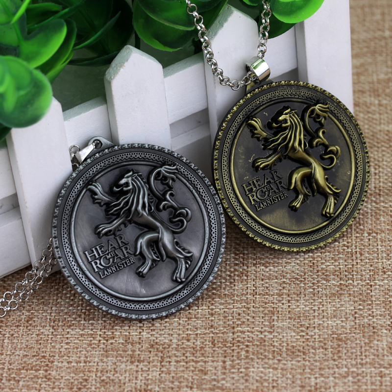 Hot Game Of Thrones House Lannister Emblem Necklaces Hear Me Roar Gold Lion Round Tag Pe ...