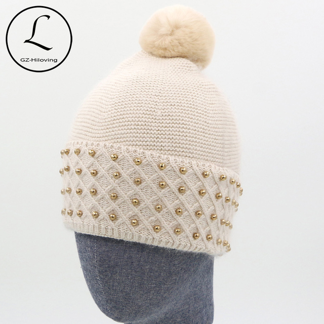 Patchwork Knitted Hats With Gold Color Beads Beanies Cap 2016 Winter Hat Unisex Natual Rabbit Ball Solid Hat Gorros Gift 6825