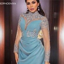 Новое поступление, вечернее платье с длинным рукавом es, расшитое вручную бисером robe de soiree musulman, вечернее платье, вечерние платья, арабское вечернее платье