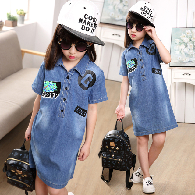 942e8d035e000 British Style Girl Dress New Summer Thin Straight Denim Dress Knee length  Short Sleeve Lapel Shirt Girls Jeans Dresses-in Dresses from Mother & Kids