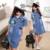 Estilo britânico Vestido Da Menina Nova Verão Reta Fina Denim Vestido Na Altura Do Joelho-comprimento de Manga Curta de Lapela Camisa Jeans Meninas Vestidos