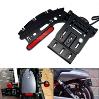Motorcycle Telescopic Folding LED Taillight Side Mount License Plate Holder For Harley Dyna Fat boy Sportster 883 1200 XL 04 16