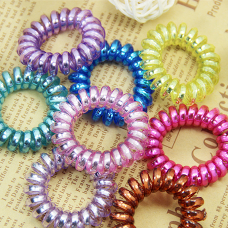 New 10PCS/LOT Elastic Hair Bands Girls Hair Accessories Rubber Band   Headwear   Hair Rope Spiral Shape Hair Ties Gum Telephone Wire