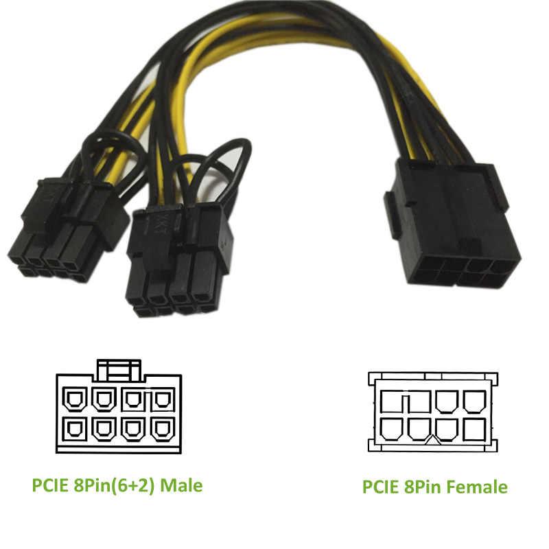 Ult-best kabel PCI-E PCIE 8P żeński na 2 porty podwójny 8pin 6P + 2 P męski GPU karta wideo zasilacz Riser górniczy przewód Cabo