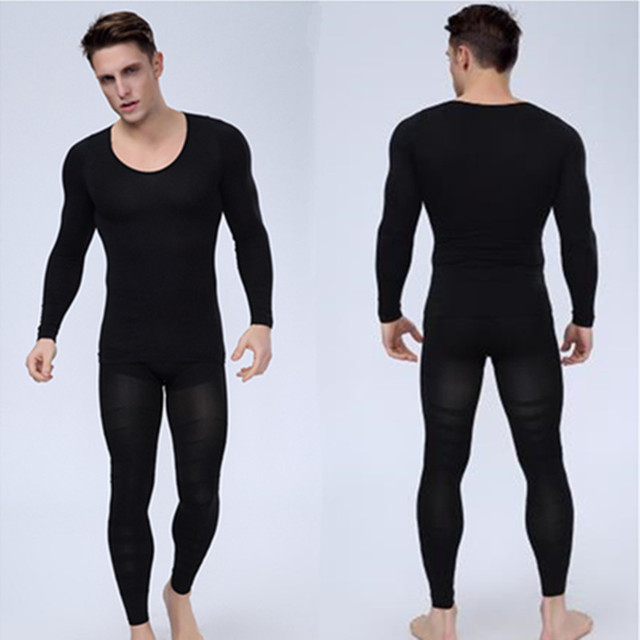 5dab71aaa6a29 Mens Bodyshuits Underwear Body Shaper Long sleeve T Shirt And Slimming Pants  Spandex Shapewear Male Fitness Clothes Black