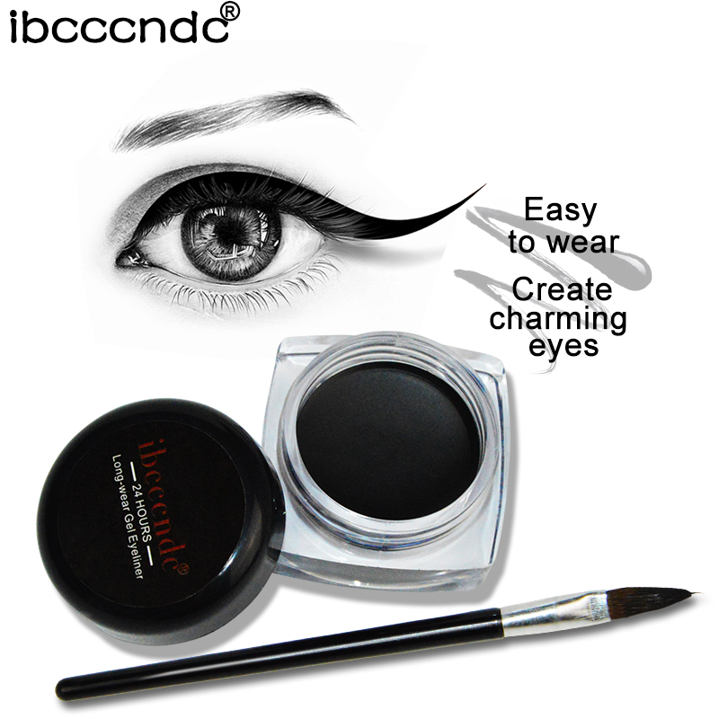 1PC Brand Black Waterproof Eyeliner Cosmetic Beauty Gel Eyeliner With Brush Easy to Wear Eye Liner Pen Pencil Makeup Eye