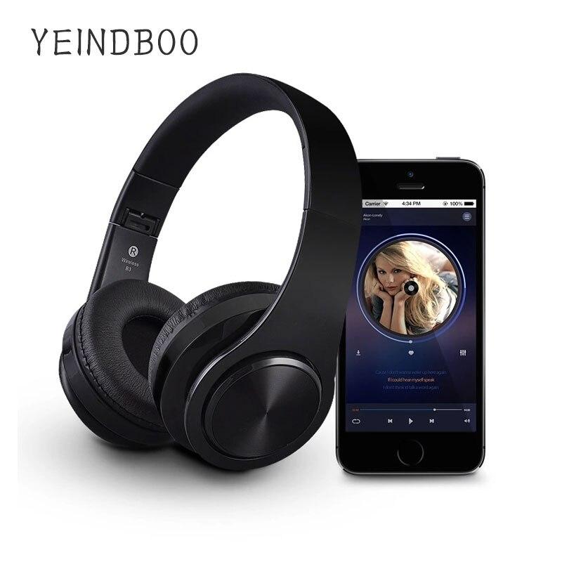 YEINDBOO B7Wireless auriculares Bluetooth Auriculares auriculares plegable ajustable auriculares con micrófono para PC teléfono móvil Mp3