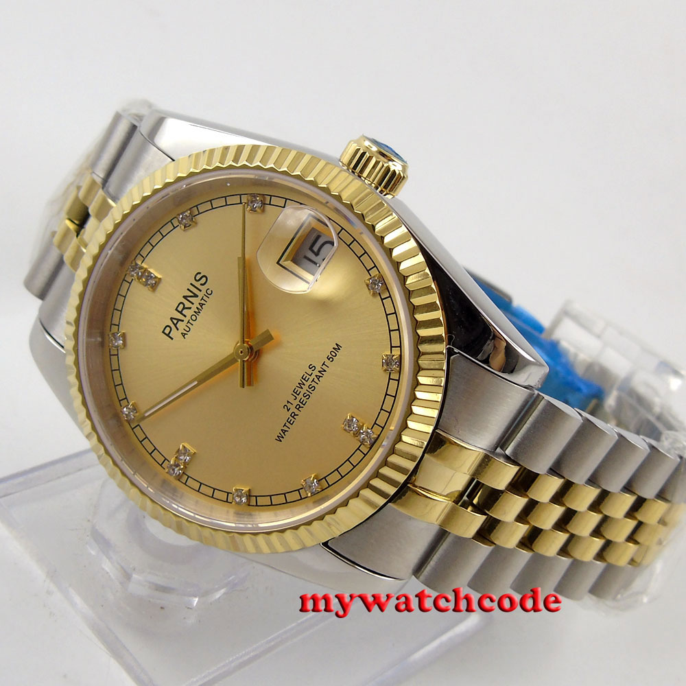 36mm Parnis gold dial Sapphire glass date window Miyota automatic mens watch 597 42mm parnis withe dial sapphire glass miyota 9100 automatic mens watch 666b