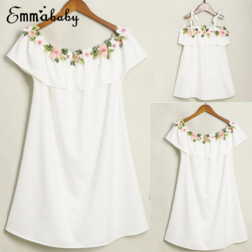 2018 Cute Mother and Daughter Summer Casual Embroidery Floral Strap Off Shoulder Maxi Dress Mommy&Me Family Matching Outfits