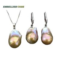 purple golden color baroque pearl set hook dangle earrings pendant large size natural freshwater pearls 925 Sterling silver