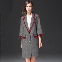 Wool Coats Winter Women 2017 Famale Overcoat Female Medium Long Spring Autumn Plaid Slim Blend Trench