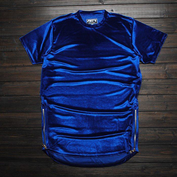 Kanye в стиле хип-хоп Футболка Мода имеет тенденцию велюр человек улица футболка сплошной цвет обычный любитель повседневные топы сторон молнии Тонкий S-2XL - Цвет: Синий