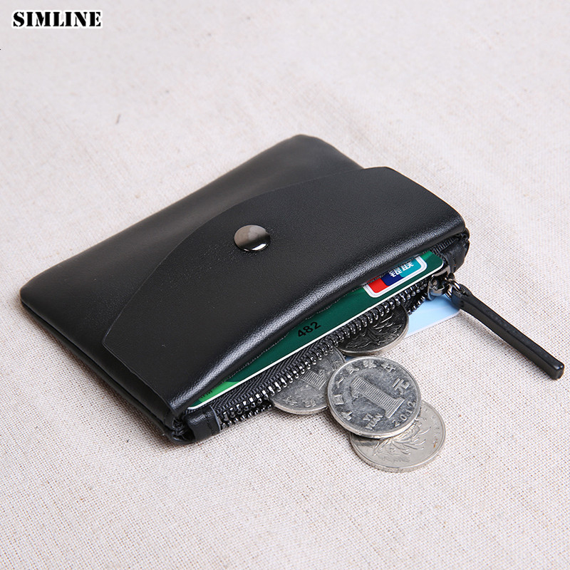 SIMLINE Genuine Leather Men Wallet Vintage Handmade Female Male Short Small Slim Wallets Coin Purse Card Holder Zipper Pocket